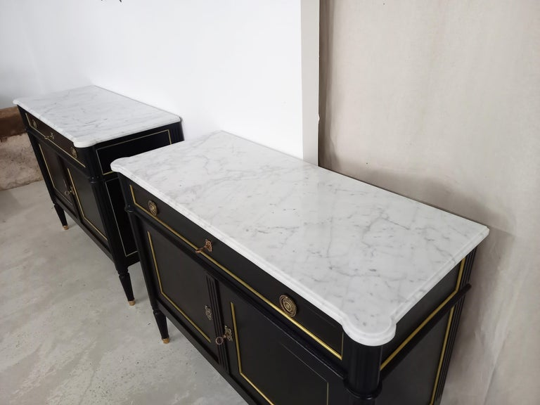 Pair of Antique French Louis XVI Style Chest of Drawers Commode Buffet Marble  For Sale 1