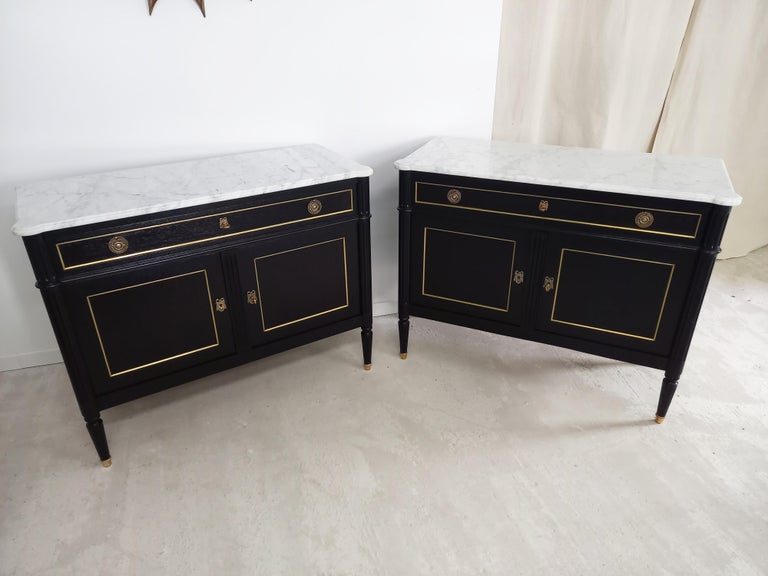 Pair of Antique French Louis XVI Style Chest of Drawers Commode Buffet Marble  For Sale 2