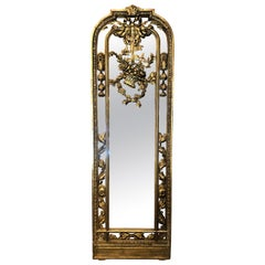 Pair of Antique French Louis XVI Style Gold Leaf Carved Wood Mirrors circa 1870s