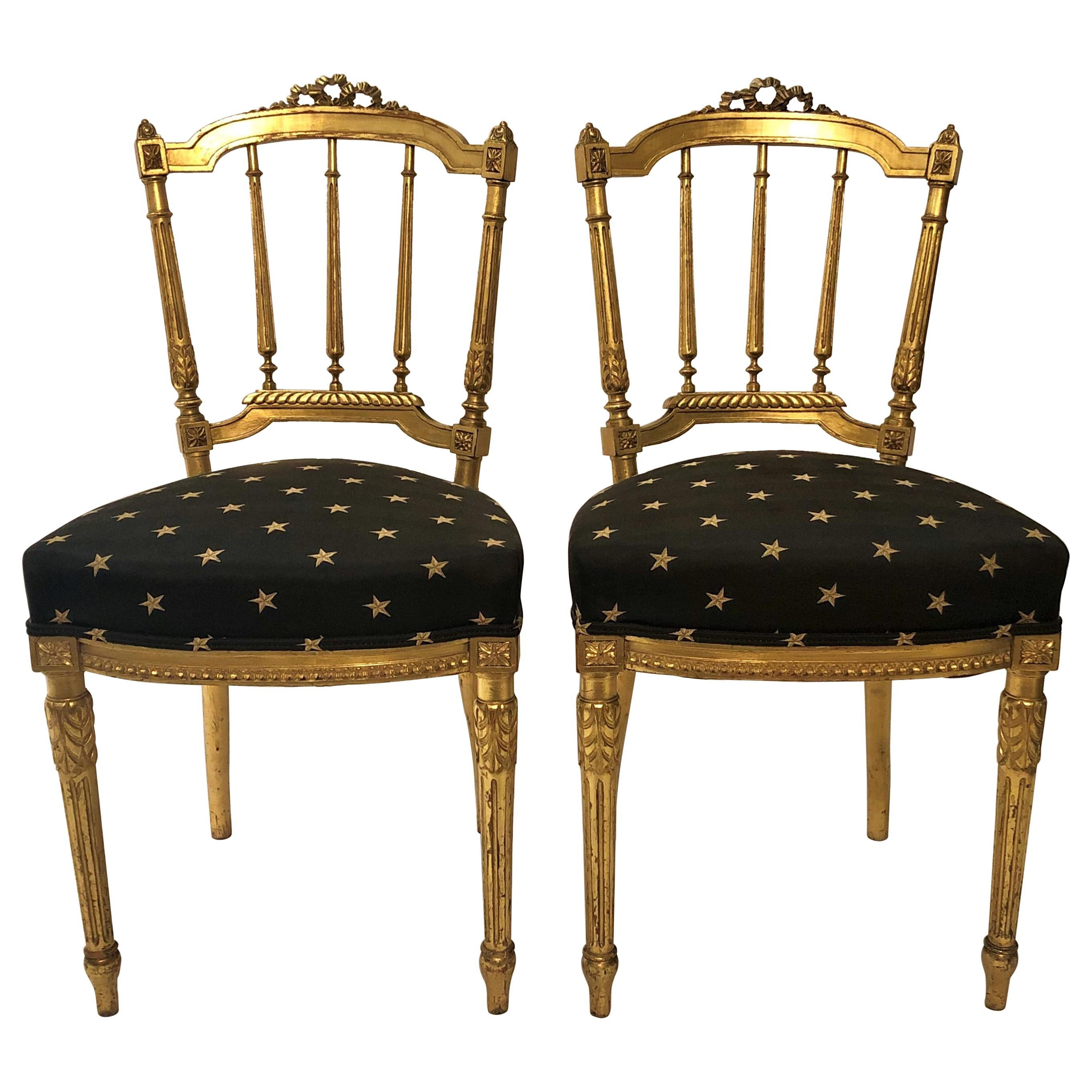 Pair of Antique French Louis XVI Style Gold Side Chairs, circa 1880