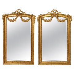 Pair of Antique French Louis XVI Style Hand Carved Giltwood Mirrors