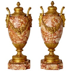 Pair of Antique French Louis XVI Style Marble Vases