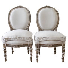 Pair of Antique French Louis XVI Style Side Chairs with Custom Linen Slip Covers