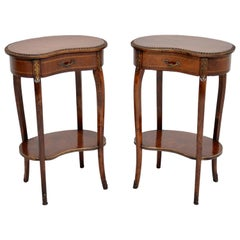 Pair of Antique French Mahogany Kidney Side Tables