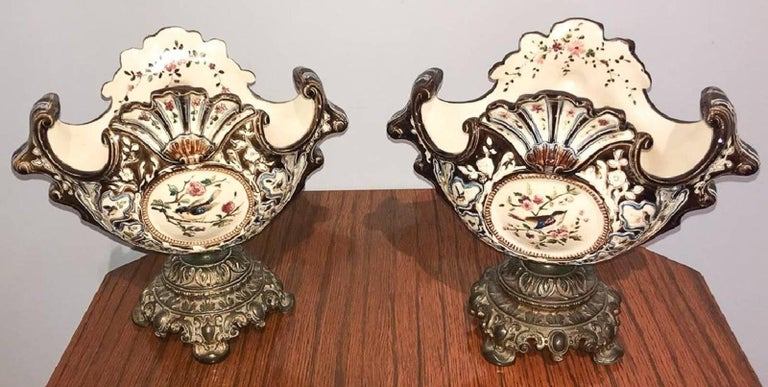 Bronze Pair of Antique French Majolica Jardineres For Sale
