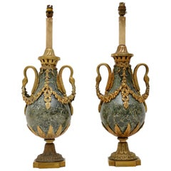Pair of Antique French Marble and Gilt Metal Table Lamps