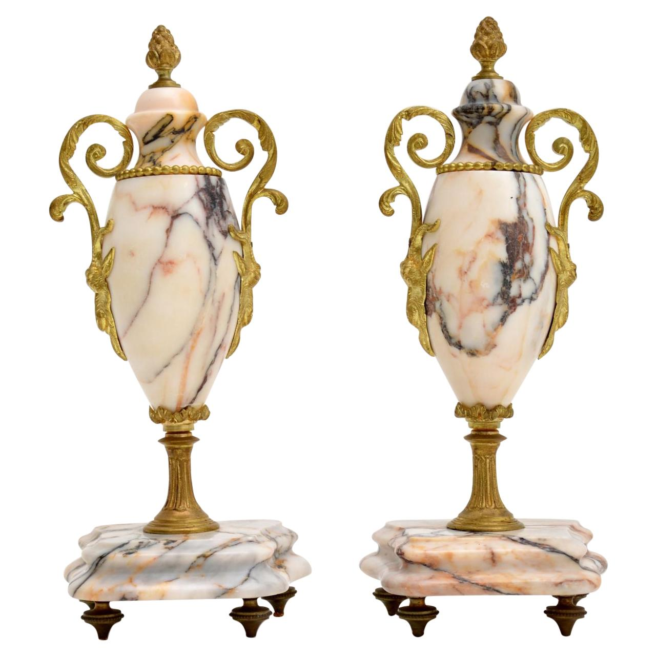 Pair of Antique French Marble & Gilt Bronze Urns