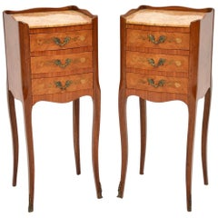 Pair of Antique French Marble Top Bedside or Lamp Tables
