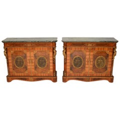 Pair of Antique French Marble-Top Gilt Bronze Mounted Cabinets