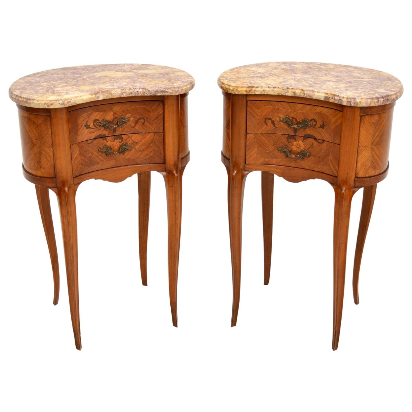 Pair of Antique French Marble Top Kidney Bedside Tables