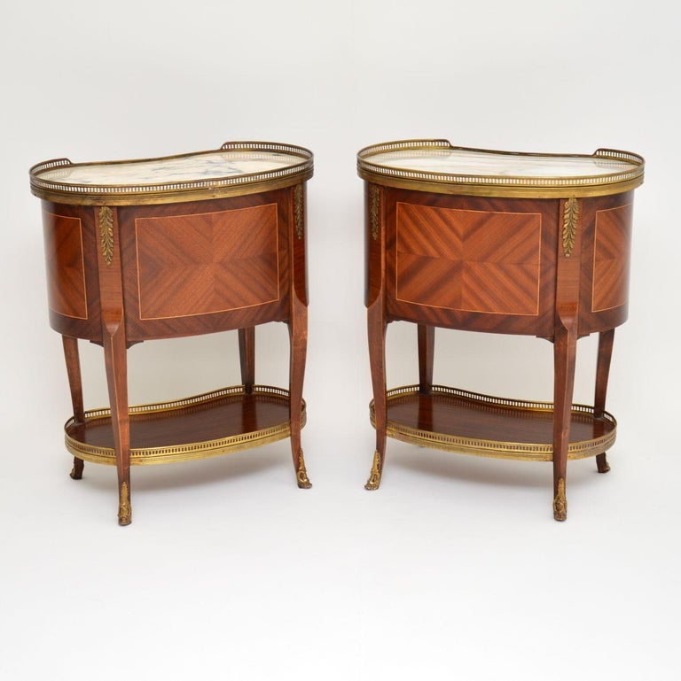 Pair of Antique French Marble-Top Kidney Side Chests In Good Condition For Sale In London, GB