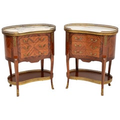 Pair of Antique French Marble-Top Kidney Side Chests
