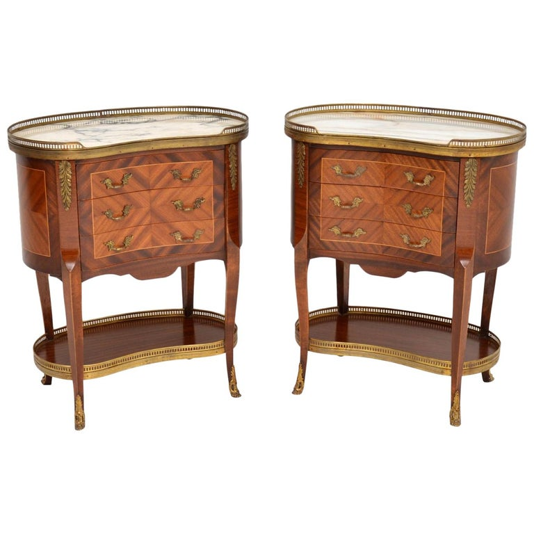 Pair of Antique French Marble-Top Kidney Side Chests For Sale