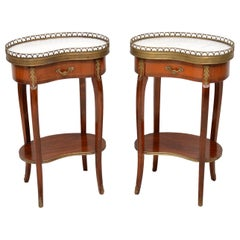 Pair of Antique French Marble-Top Kidney Side Tables