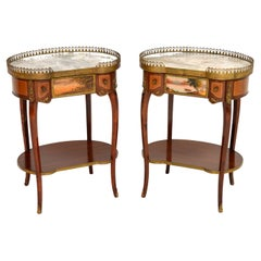 Pair of Antique French Marble Top Kidney Side Tables