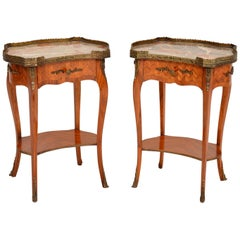 Pair of Antique French Marble-Top Side Tables