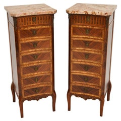 Pair of Antique French Marble Top Slim Chests of Drawers
