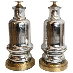 Pair of Antique French Mercury Glass Lamps