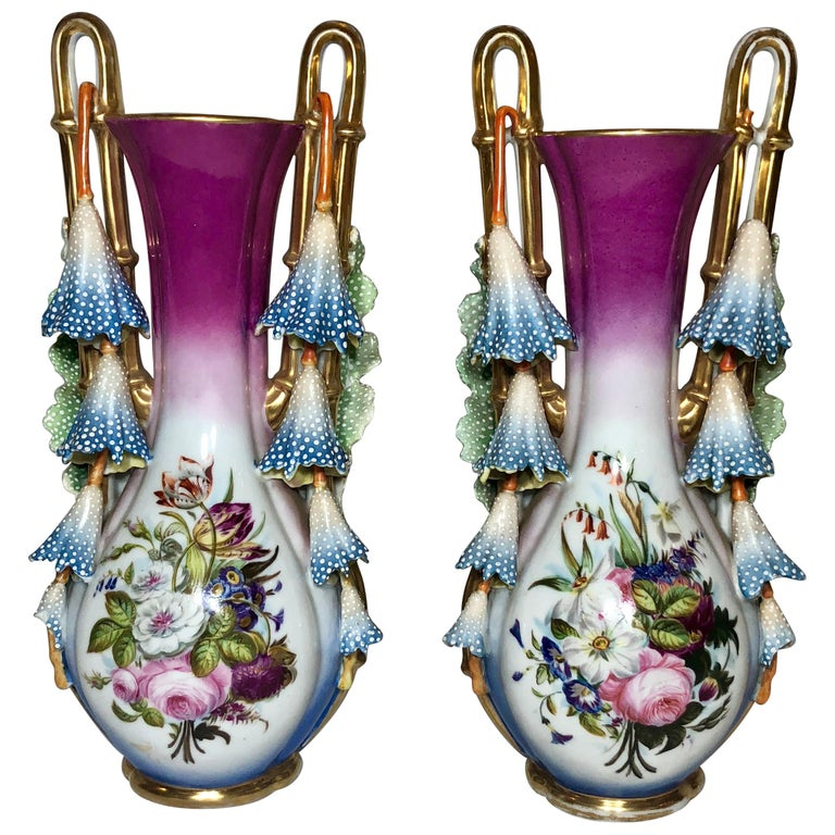 Pair of Antique French Mid-19th Century Old Paris Porcelain For Sale