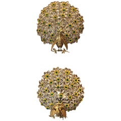 Pair of Antique French Multi-Color Peacock Wall Lights