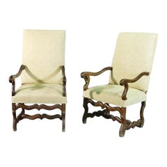Pair of Antique French Mutton Leg Walnut Armchairs Fauteuills, C1830
