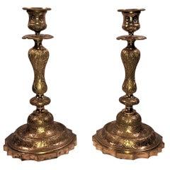 Pair of Antique French Napoleon III Ormolu Candlesticks, circa 1865-1880