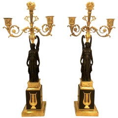 Pair of Antique French Napoleonic Candelabra
