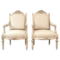 Pair of Antique French Neoclassical Armchairs