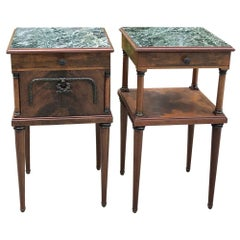 Pair of Antique French Neoclassical Mahogany Marble Top Nightstands