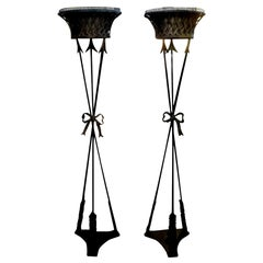 Pair of Antique French Neoclassical Style Iron Torchères