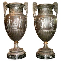 Pair of Antique French Neoclassical Style Urns