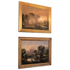 Pair of Antique French Oil on Canvas Paintings