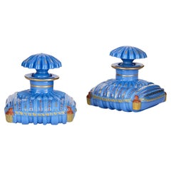 Pair of Antique French Opaline Glass Bottles in the Form of Cushions