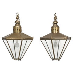 Pair of Antique French or English, Very Large Brass Lanterns Completely Restored