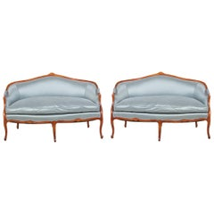 Pair of Antique French or Italian Walnut Settees, circa 1840