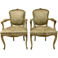 Pair of Antique French Painted Armchairs, circa 1900