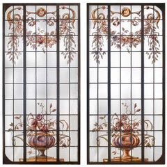 Pair of Antique French Painted Leaded Glass Windows