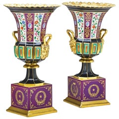 Pair of Antique French Paris Porcelain Vases or Lamps with Maroon Bases