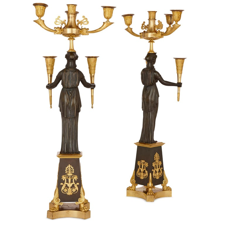 Pair of Antique French Patinated and Gilt Bronze Candelabra For Sale 2