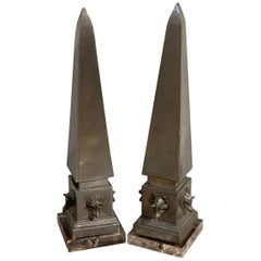 Pair of Antique French Pewter Boars Head Obelisks, with Lucite Bases