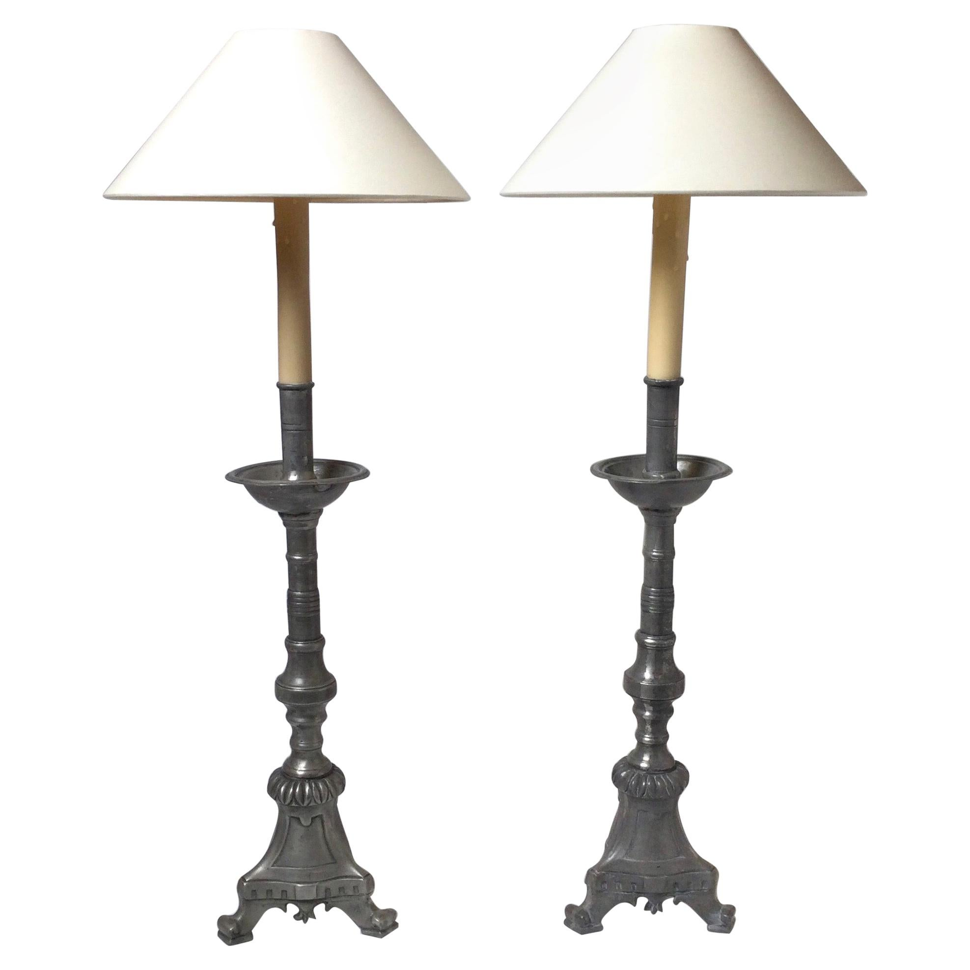 Pair of Antique French Pewter Candlesticks Now as Lamps