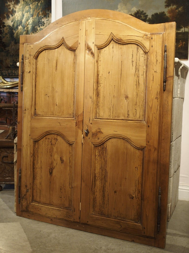 Hand-Carved Pair of Antique French Pine Cabinet Doors, 19th Century For Sale
