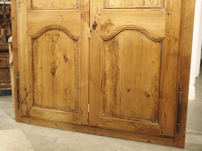 Pair of Antique French Pine Cabinet Doors, 19th Century In Good Condition For Sale In Dallas, TX