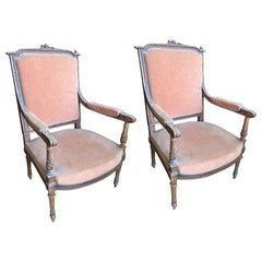 Pair of Antique French Pink Chairs