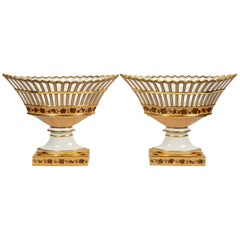 Pair of Antique French Porcelain Baskets 'Corbeilles' Made, circa 1840