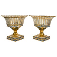 Pair of Antique French Porcelain Gilded Baskets 'Corbeilles' Mid 19th Century
