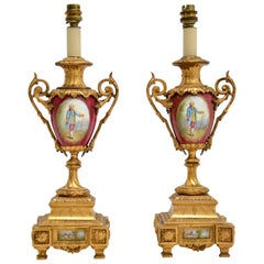 Pair of Antique French Porcelain & Gilt Metal Table Lamps