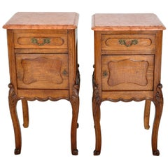 Pair of Antique French Provincial Carved Oak Marble-Top Nightstands, circa 1890