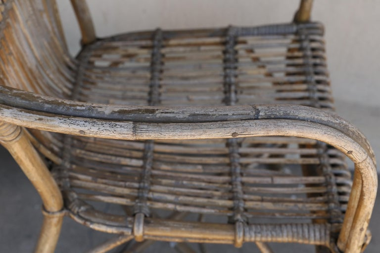 Pair of Antique French Rattan Armchairs For Sale at 1stdibs