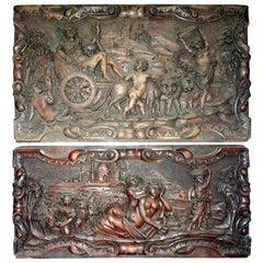 Pair of Antique French Renaissance Style Carved Wood Architectural Wall Panels
